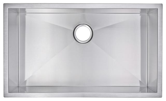 Zero Radius Single Bowl Stainless Steel Hand Made Undermount Kitchen Sink.