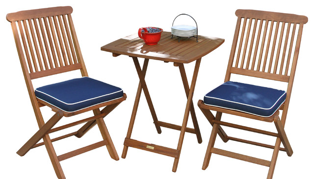 Square Bistro Table And Chairs, 3 Piece Set, Navy Cushions Craftsman Outdoor