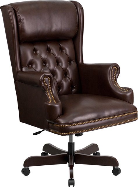 Bonded Leather Office Chair, Brown.