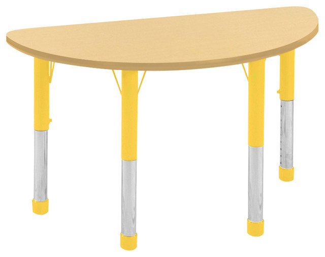 Great Maple And Yellow Half Round Table, Chunky Modern Kids Tables And