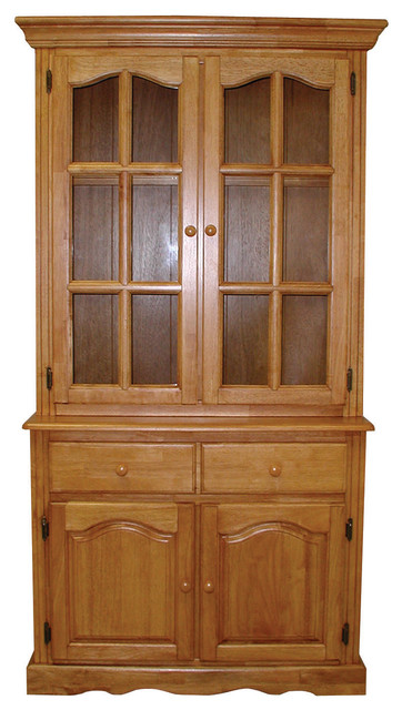 Keepsake Buffet and Lighted Hutch, Light Oak Transitional China Cabinets And Hutches by