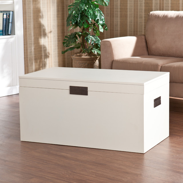 Upton home barclay white trunk cocktail table for Overstock trunk coffee table