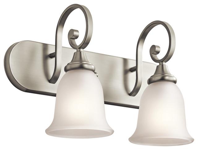 George Kovacs Brushed Nickel Five Light Bath Fixture In: Kichler Monroe 2-Light Bathroom Lighting Fixture, Brushed