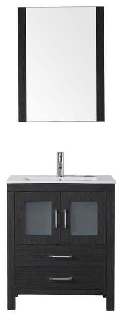 Virtu Dior 28 Single Bathroom Vanity, Zebra Gray, Faucet, Mirror.