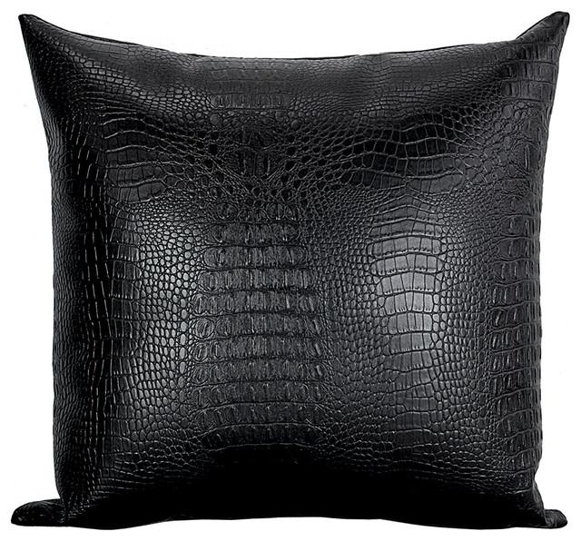 Black Croc Faux Leather Decorative Throw Pillows Set Of 4