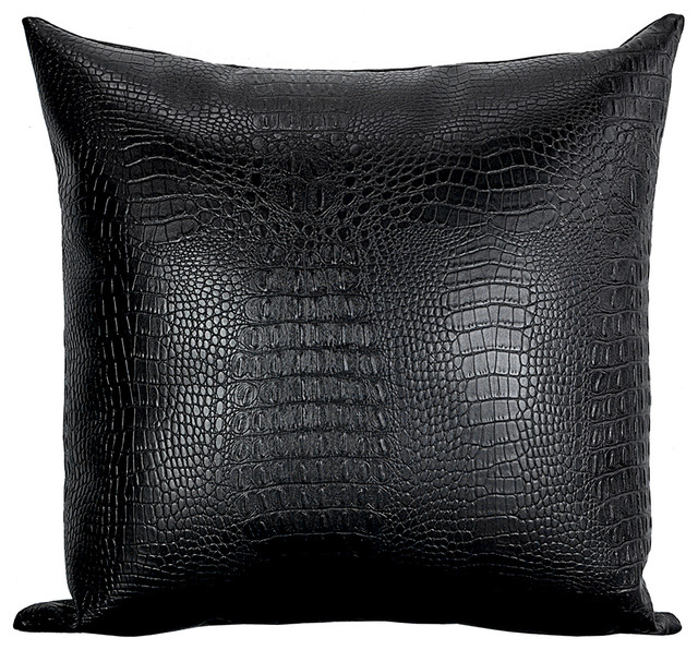 Black Croc Faux Leather Decorative Throw Pillows Set Of 4