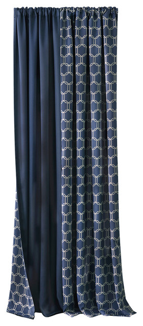 "Prelude Reversible Blackout Rod Pocket Curtain Panel, Navy, 50""x84""."