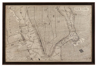 Bassett Mirror Vintage Map Of New York Contemporary