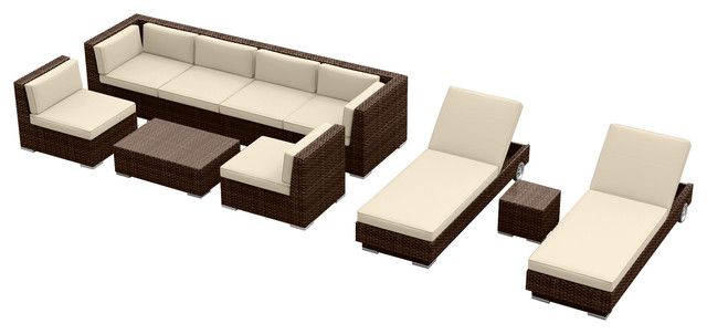 Urban Furnishing Brown Series 10 Piece Modern Outdoor Patio Furniture Sofa Set