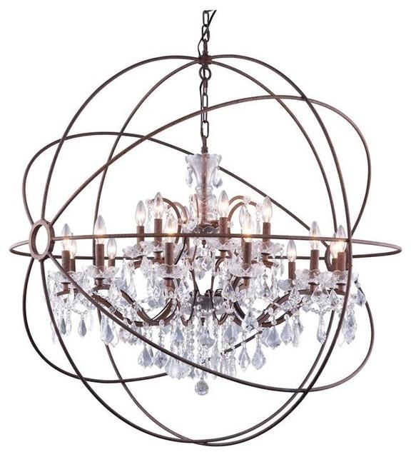 Geneva 18-Light Dark Bronze Pendant Chandelier, Clear Crystal ...
