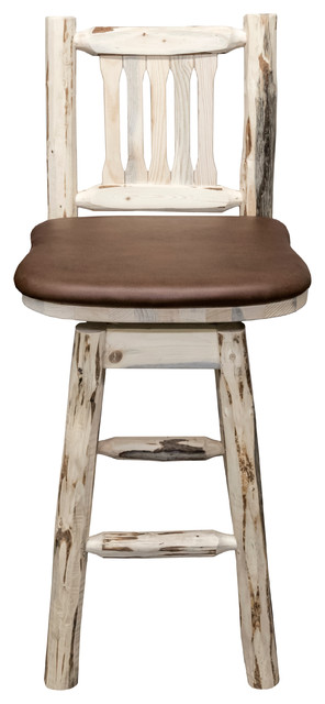 Barstool Back And Swivel Clear Finish Rustic Bar