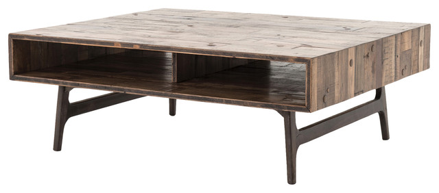 Lester Rustic Lodge Reclaimed Oak Coffee Table Tables