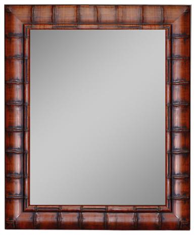 "Dynasty Bamboo Dark Brown Wall Mirror, 26""x36""."
