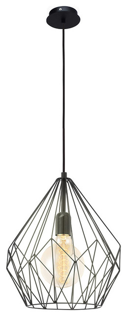 Carlton Pendant In Black Finish With Metal Black Shade.