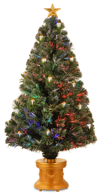 48 inch fiber optic fireworks shiny gold lantern tree with for Modern gold christmas tree