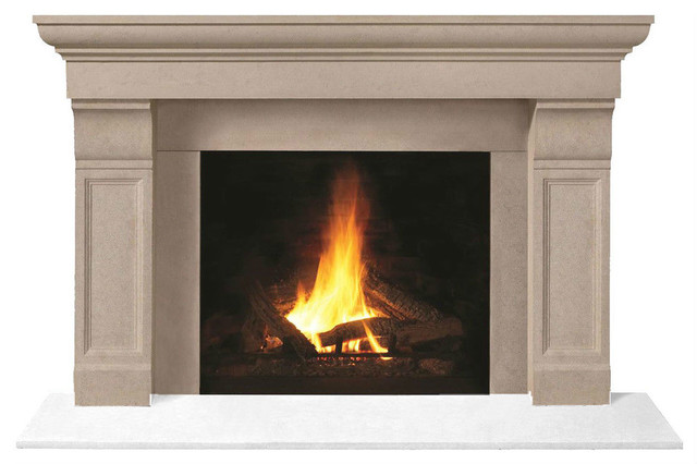 Fireplace Stone Mantel 1147.511 With Filler Panels, Buff, No Hearth Pad.