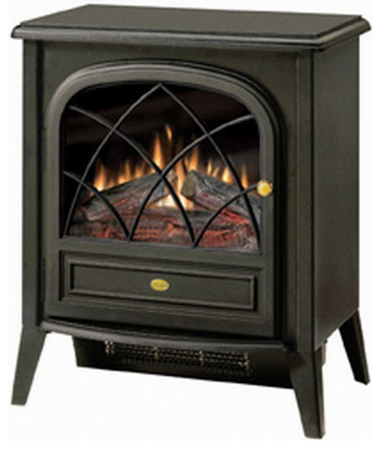 This Black Compact Stove Style Electric Fireplace Space Heater with 3D Flame delivers a traditional appearance and soothing flame in a small package. No need