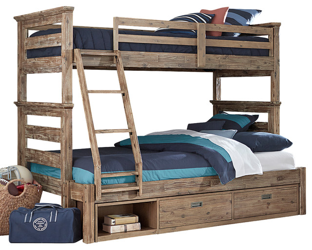 Traxler Sandwashed Gray Bunk Bed, Twin Over Full, Underbed Storage Drawers.
