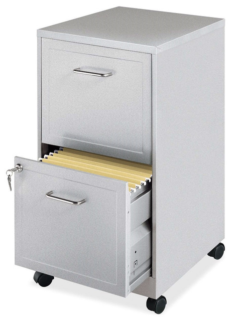 Gray Silver Metal 2-Drawer File Cabinet With Casters.