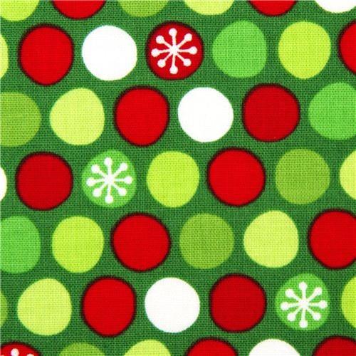 green Christmas fabric dots snowflake Robert Kaufman