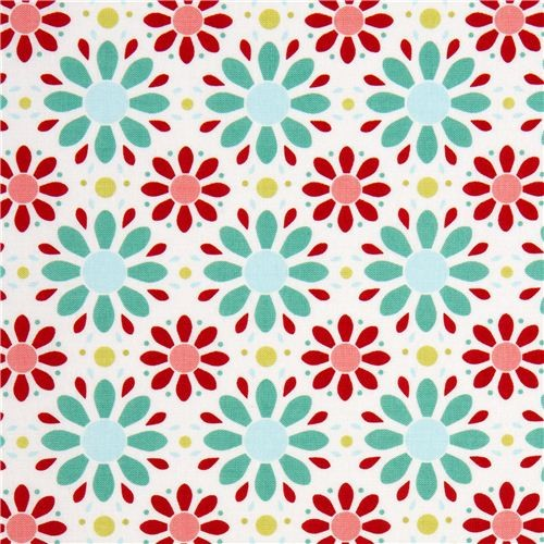 white Riley Blake fabric with red and turquoise flowers