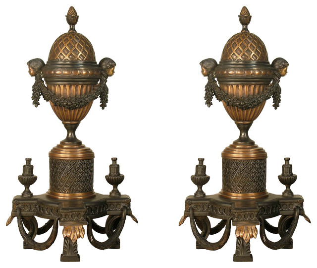 "Bronze Fireplace 29"" Ornate Andirons."