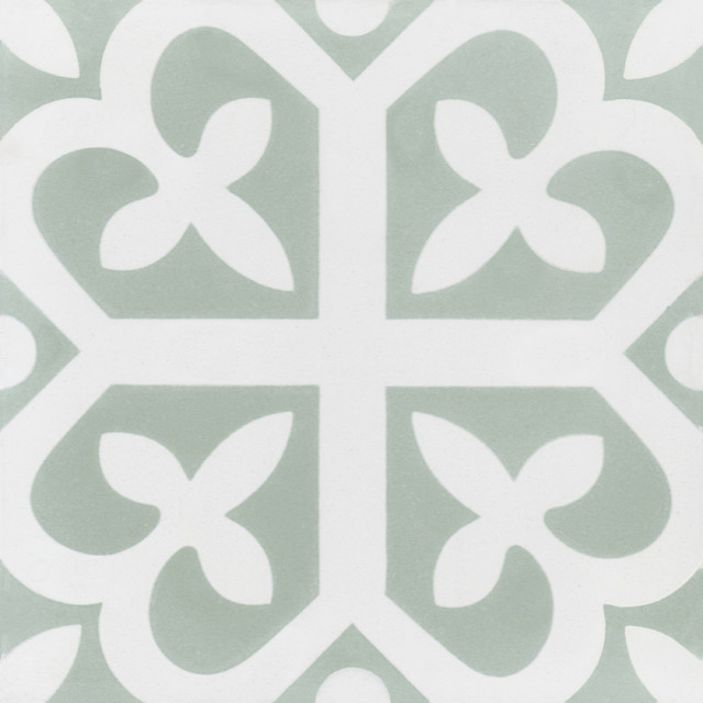 """7.9""""x7.9"""" Lucky Hand-Crafted Cement Tiles, Set Of 12."""