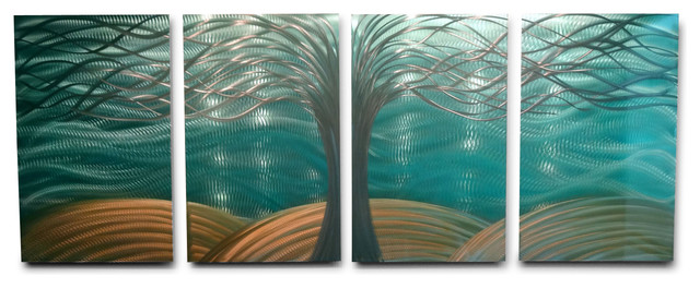 Metal Wall Art Decor Abstract Contemporary Modern  Tree Of Life Aqua Gold