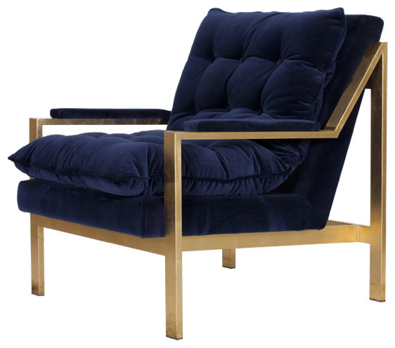 Worlds Away Cameron Navy And Gold Lounge Chair View In