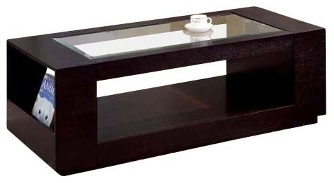 Coffee Table, Cappuccino Veneer With Glass Insert Modern Coffee Tables
