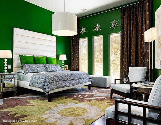 Example of a minimalist bedroom design in Austin