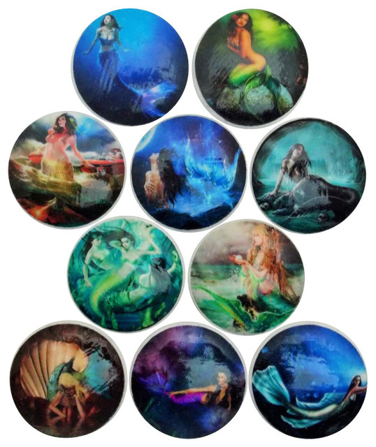 Mythical Mermaid Cabinet Knobs, 10-Piece Set - Contemporary ...
