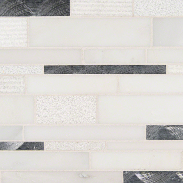 Moderno Blanco Interlocking Pattern Glass Stone Metal
