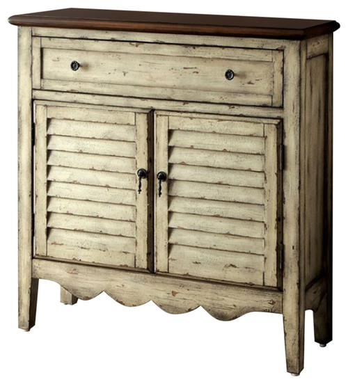 BM123413 Hazen Country Style Cabinet, Antiqued White and Brown