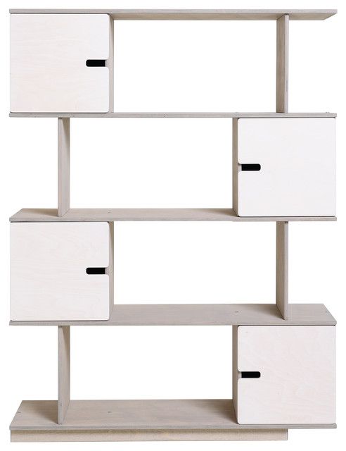 PIX Modular Shelving Unit, Pebble Grey and White, 4 Cupboards