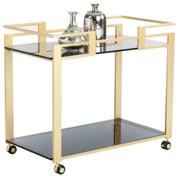 Glamorous Bar Cart With Matte Gold Steel Frame