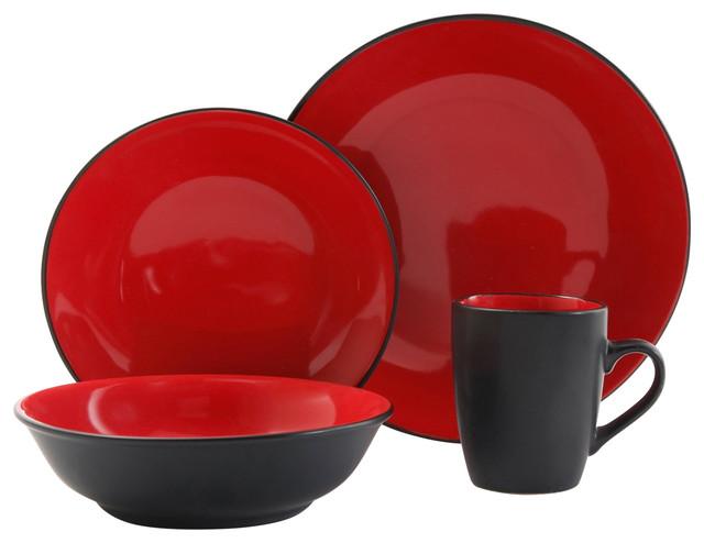 Vivendi 2 Tone 16 Piece Dinnerware Set Red And Black