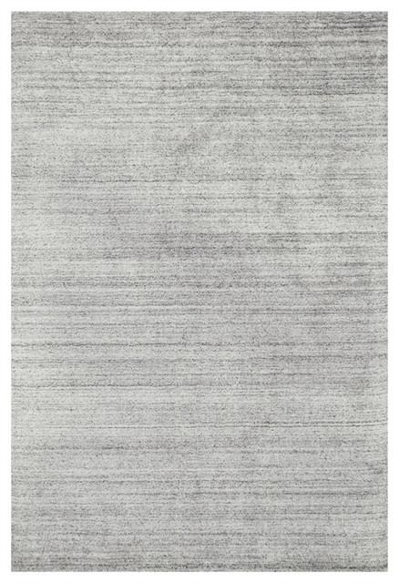 Efra Modern Classic Silver Gray Stria Wool Rug, 5&x27;x7&x27;6.