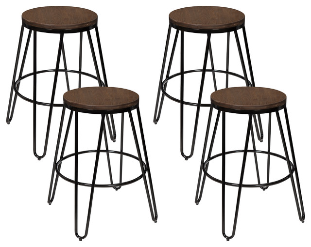 Tully Backless Bar Stools Set Of 4 Industrial Bar Stools And