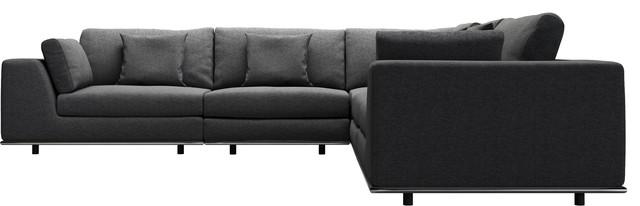 Perry 2-Arm Corner Sofa, Shadow Gray Fabric.