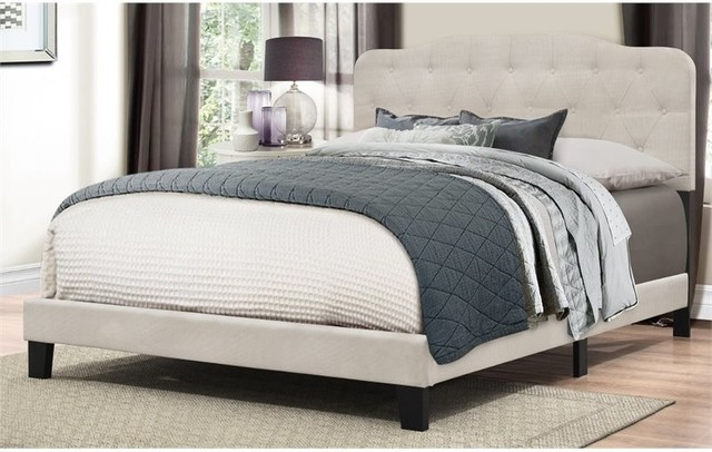 Hillsdale Nicole Upholstered Queen Panel Bed, Fog.