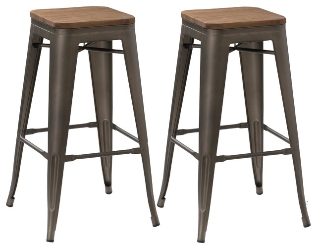 30   Solid Steel Stacking Industrial Rustic Metal Bar Stools Wood Top Set of 2  sc 1 st  Houzz & 30