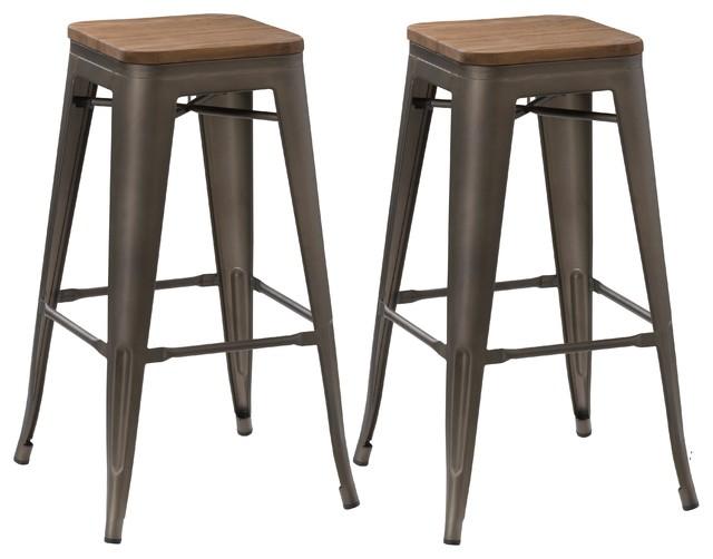 30 Solid Steel Stacking Rustic Metal Bar Stools Wood Top