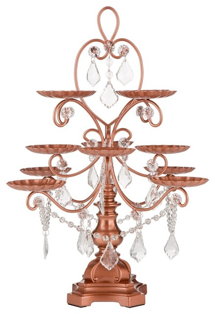 Madeleine Rose Gold Crystal Draped Cupcake Stand