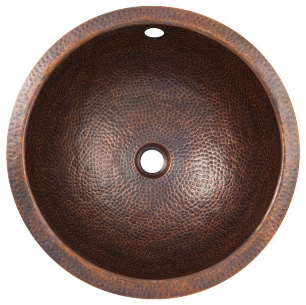 Solid Hand Hammered Copper Medium Round Undermount Lavatory Sink, Antique Finish.