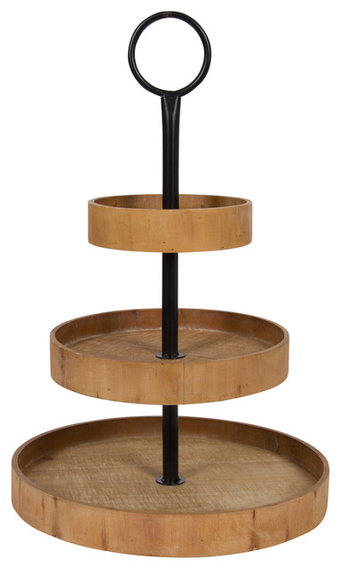 Woodmont 3 Tiered Wood Tray, Natural 3 Tier