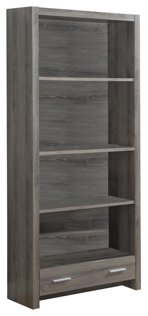 Jackson Bookcase With Bottom Drawer, Dark Taupe.