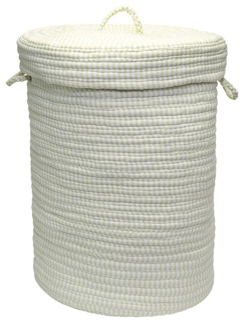 """Ticking Solids Hamper With Lid Rug, Limelight 18""""x18""""x30""""."""