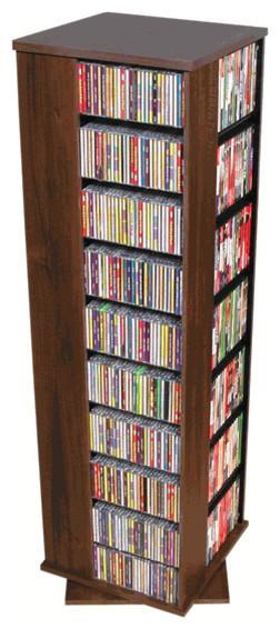 Revolving Media Tower Cabinet- Walnut.