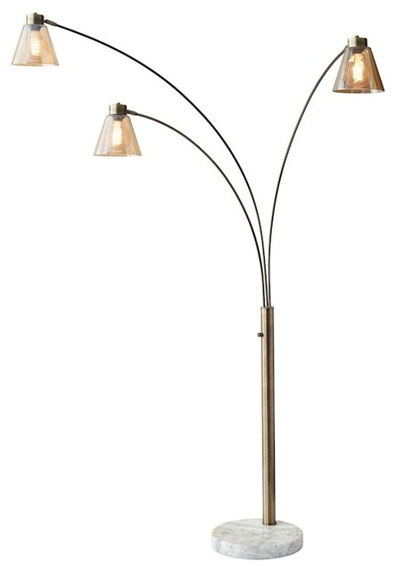 houzz adesso adesso sienna arc lamp antique brass floor lamps. Black Bedroom Furniture Sets. Home Design Ideas